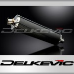DELKEVIC EXHAUST SILENCER WITH REMOVABLE BAFFLE 450mm OVAL CARBON FIBRE