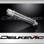 DELKEVIC EXHAUST SILENCER WITH REMOVABLE BAFFLE 350mm ROUND CARBON FIBRE