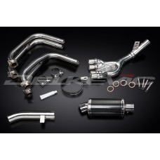 Full Exhaust System to fit FZS600 FAZER (1998-2003) with DS70 225mm Oval Carbon Fibre Silencer and Stainless Steel 4-1 Down Pipes