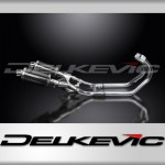 Full Exhaust System to fit VMX1200 V-MAX (1984-2007) with DS70 225mm Oval Carbon Fibre Silencer and Chromed Mild Steel Down Pipe Set