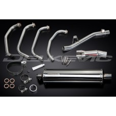Full Exhaust System to fit GSF650SA BANDIT ABS (2005-2007) with 450mm Oval Straight Outlet Stainless Steel Silencer and Stainless Steel 4-1 Down Pipes