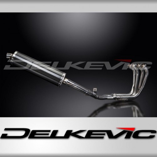 Full Exhaust System to fit FZS600 FAZER (1998-2003) with 450mm Oval Carbon Fibre Silencer and Stainless Steel 4-1 Down Pipes