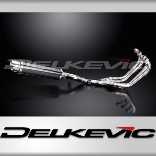 Full Exhaust System to fit XJ600N (1995-2003) with DL10 350mm Round Carbon Fibre Silencer and Stainless Steel 4-1 Down Pipes