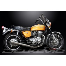 Full Exhaust System to fit CB750 (K) SOHC (1969-1976) with Classic Universal Silencer and Stainless Steel 4-1 Down Pipes