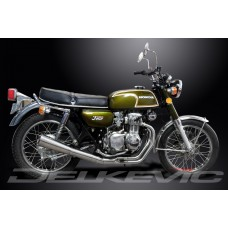 Full Exhaust System to fit CB350F CB350 FOUR (1972-1974) with Classic Universal Silencer and Stainless Steel Downpipes