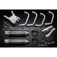 Full Exhaust System to fit FJ1200 (3XW) (1991-1996) with DL10 350mm Round Carbon Fibre Silencer and Stainless Steel 4 Piece Down Pipe Set