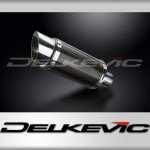 DELKEVIC EXHAUST SILENCER WITH REMOVABLE BAFFLE 200mm ROUND CARBON FIBRE
