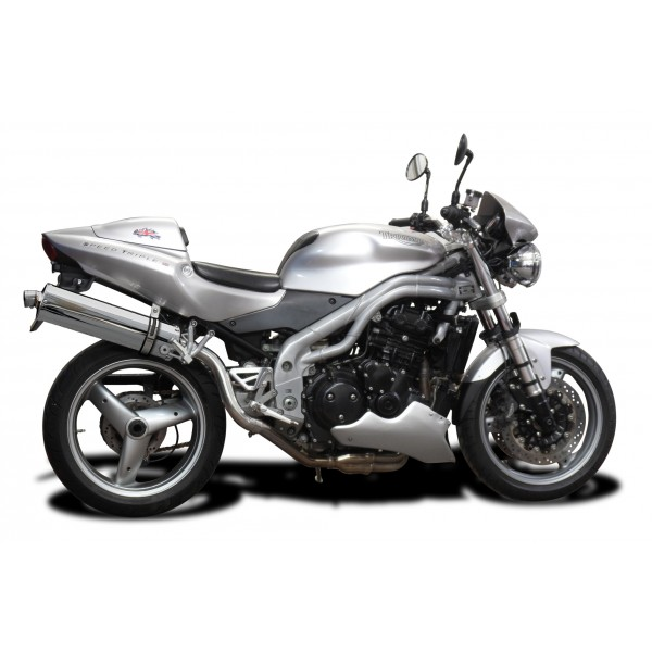 TRIUMPH SPEED TRIPLE 955i 02-04 HI LEVEL 450mm OVAL STAINLESS BSAU EXHAUST KIT